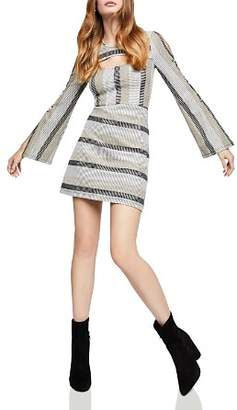 BCBGeneration Metallic-Stripe Cutout Dress