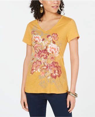 Style&Co. Style & Co Floral-Graphic V-Neck Top