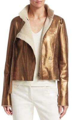 Akris Metallic Leather Shearling Jacket