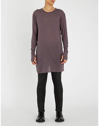 Boris Bidjan Saberi Longline cotton and cashmere-blend top