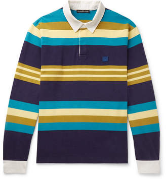 Acne Studios Twill-Trimmed Striped Cotton-Jersey Polo Shirt