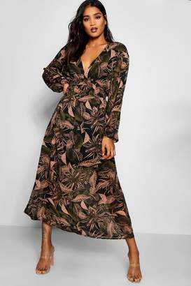 boohoo Palm Print Chiffon Maxi Dress
