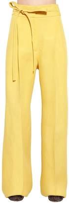 Rochas High Waist Silk Gabardine Pants