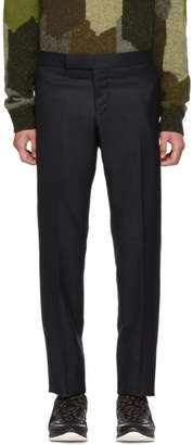 Thom Browne Navy Wool Side Stripe Low-Rise Skinny Trousers
