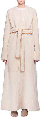 The Row Creyton Snap-Front Belted Lamb Shearling Coat