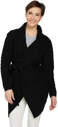 Aran Craft Merino Wool Cardigan with Waterfall Neckline