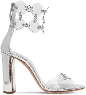 Casadei 100mm Metallic Leather & Plexi Sandals