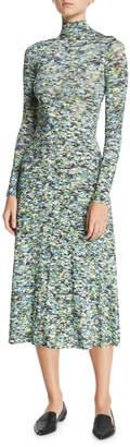 Rosetta Getty Turtleneck Long-Sleeve Foam-Print Jersey Long Dress