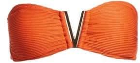 00698e4aecdd5 Heidi Klein Women s Ribbed V-Bar Bandeau Bikini Top - Orange - Size Large