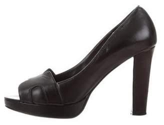 Hermes Leather Peep-Toe Pumps