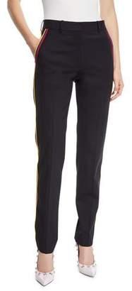 Calvin Klein Band-Stripes Straight-Leg Cropped Stretch-Wool Pants