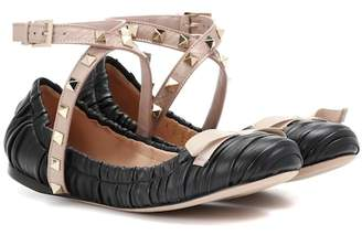 Valentino Studwrap leather ballerinas