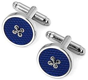 Aspinal of London Sterling Silver Plated Button Cufflinks In Blue Enamel