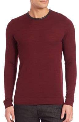 The Kooples Leather-Trim Wool Sweater