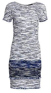 St. John Women's Fringe Multicolor Tweed Bateau Neck Dress - Size 0