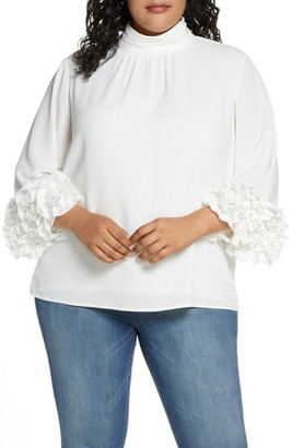 Vince Camuto Shirred Detail Ruffle Sleeve Blouse