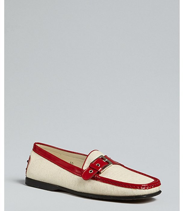 Tod's beige canvas with patent trim loafers