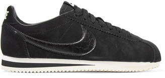 Nike Classic Cortez Leather-trimmed Suede Sneakers - Black