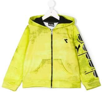 Diadora Junior logo print zipped hoodie