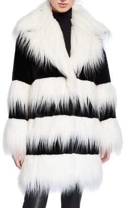 Baldan Amanda Two-Tone Faux Beaver & Monkey Fur Coat