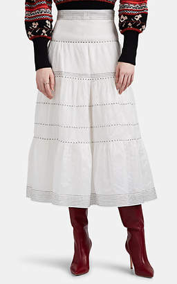 Ulla Johnson Women's Margot Embroidered Cotton-Silk Organza Tiered Skirt - White