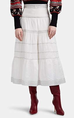 Ulla Johnson Women's Margot Embroidered Cotton-Silk Organza Tiered Skirt - White