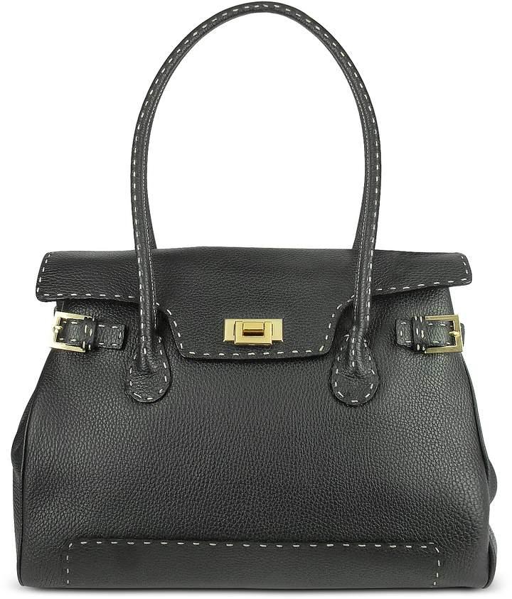 Fontanelli Black Handstitched Pebble Leather Large Satchel Bag