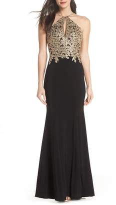 Xscape Evenings Gold Embroidery Halter Neck Gown