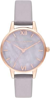 Olivia Burton Semi Precious Stainless Steel Leather Strap Watch