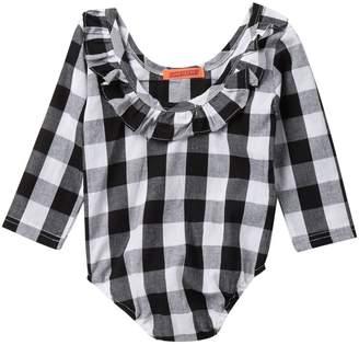 Funkyberry Black Plaid Ruffle Jumpsuit (Baby Girls)
