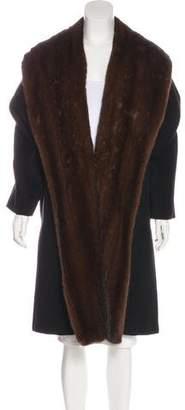 Max Mara Mink-Trimmed Virgin Wool Coat