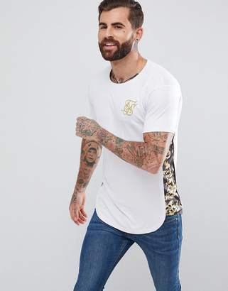 SikSilk Muscle T-Shirt In White With Baroque Panels