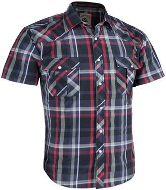 Coevals Club Men's Casual Plaid Snap Front Short Sleeve Shirt (Red / black , L)