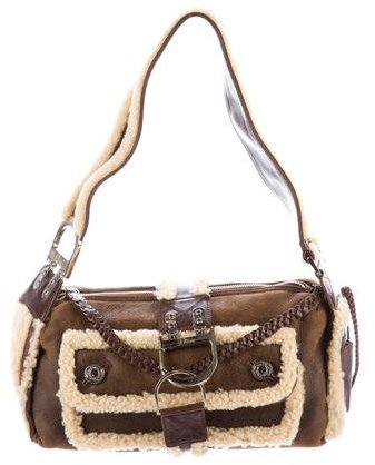 Christian Dior  Christian Dior Suede & Shearling Shoulder Bag