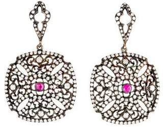 18K Diamond & Ruby Maltese Cross Drop Earrings