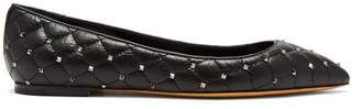 Valentino Rockstud Quilted Leather Flats - Womens - Black