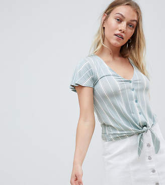 New Look Petite Stripe Button Through Top