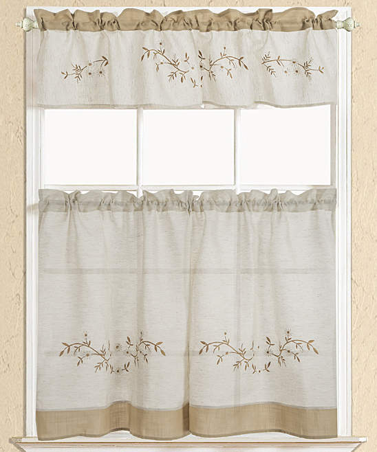 White Rustic Floral Embroidered Kitchen Curtain Set