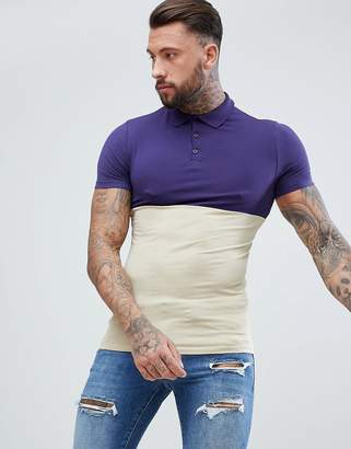 Asos Design DESIGN muscle fit jersey polo with contrast yoke