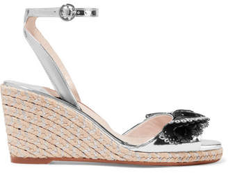 Sophia Webster Soleil Lucita Mirrored-leather Espadrille Wedge Sandals - Silver