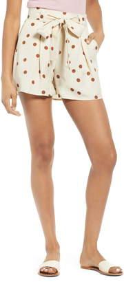 Moon River Tie Waist Pleated Linen Blend Shorts
