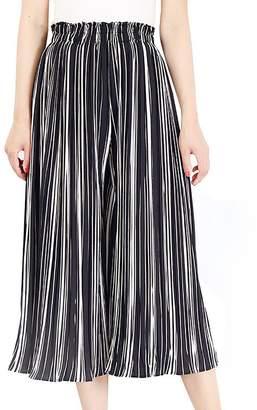 FEOYA Womens Casual Wide Leg Pants Lightweight Palazzo Comfy Pants Elastic High Waist Strips Trousers Pants Medium - Black