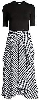 Maje Women's Rapri Mixed-Media Gingham Midi Dress