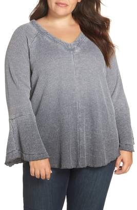 Seven7 Bell Sleeve Dye Dip Knit Top