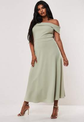 Missguided Size Bridesmaid Green Bardot Fold Over Skater Dress