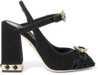 Dolce & Gabbana Crystal-embellished Lurex Slingback Sandals - Black