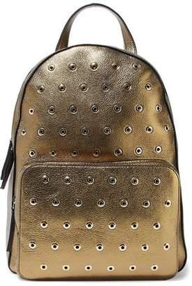 RED Valentino Eyelet-Embellished Metallic Textured-Leather Backpack