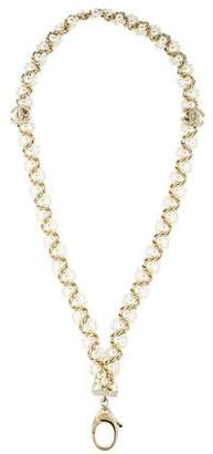 Chanel Faux Pearl & Crystal Lariat Necklace