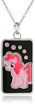 My Little Pony Unisex Fine Silver Plated Crystal Pinkie Pie Dog Tag Pendant Necklace