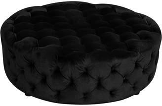 Pangea Rustique By Jasper Round Ottoman In Black Velvet